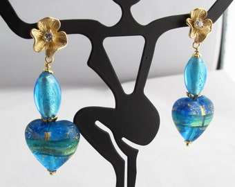 Aqua Blue and Gold Venetian Glass Hearts and Ovals on Golden Flowered Heart Posts