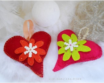 Christmas decoration, decoration Christmas tree, hanging heart, heart decoration made of felt, heart felt Christmas tree, red, pink heart,