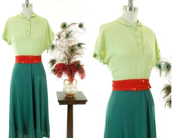 Vintage 1940s Dress -Fantastic Linen Color Block Late 40s Day Dress in Chartruese and Spruce Green with Wide Red Belt