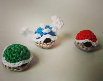 Crocheted Miniature Mario Shells
