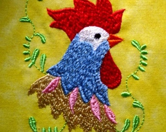 Machine Embroidery Design- Rooster Profile #04 with 3 sizes Included!