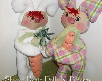 Primitive Raggedy Bunny Doll  ePattern Instant Download
