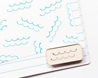Waves stamp, mini stamp, ocean stamps, wood mounted, rubber stamps, craft supplies, DIY, summer, sea, water stamp, card making, studiomaas