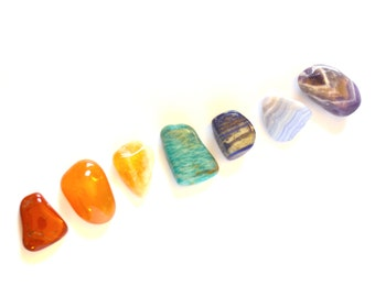 Large 7-Stone Healing Crystals and Stones Chakra Set, Rainbow Tumbled Crystal Chakra Stones, Seven Genuine Crystals For Each Chakra