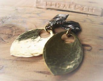 Gold Dangle Earrings Brass Earring Pair Two Tone Earrings Silver and Gold Statement Earrings Item No, JE2518