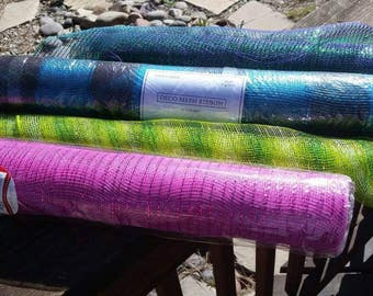 Blue, Green, Pink, or Purple-Green Deco Mesh Ribbon by the roll - Wedding decor, wreath making supplies