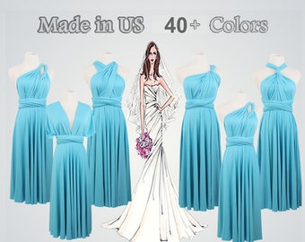 Knee Length Short Ball Gown Maxi Infinity Dress Convertible Formal Multiway Wrap Bridesmaid Dress Evening Dress Turquoise dress