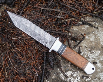 Custom Handmade 1095 Damascus Tanto Tracker Fixed Blade Hunting/Survival Knife with Leather Sheath (Burl Wood Handle)