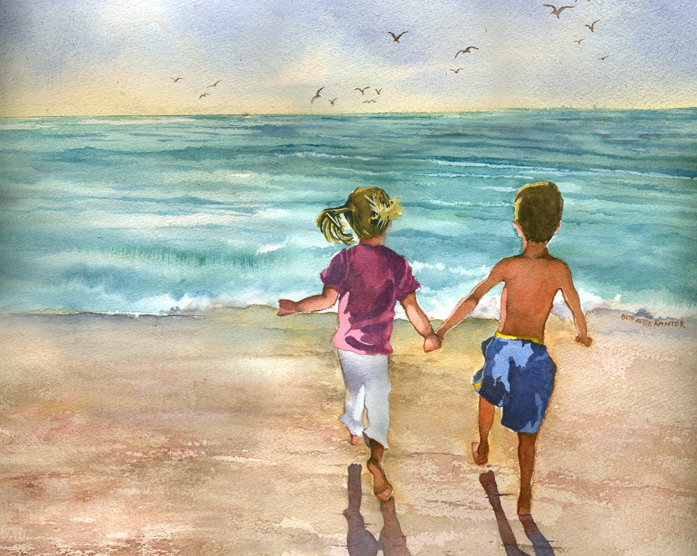 Children Playing On The Beach Watercolor Painting Print