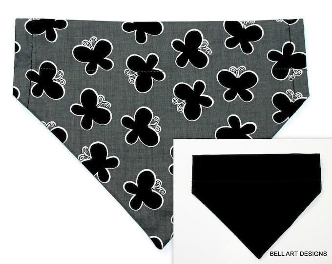BUTTERFLIES and BLACK ~ Over the Collar ~ Reversible ~ Dog Pet Bandana ~ Bell Art Designs