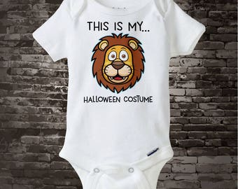 Lion Halloween Costume Onesie Bodysuit or shirt with cute Lion head and the words This Is My Halloween Costume 09242017a