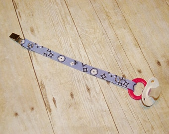 Pacifier Clip, Lavender Bandanna, Personalization Available, Ready to Ship, Free USA Shipping