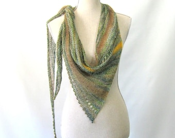Sheer Summer Weight Skinny Triangle Shawl Style Scarf Neckwrap with Beads  -  Silk Mix Blend Yarn - Ethereal Olive Green and Gold