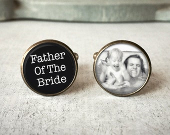 Father Of The Bride Cufflinks, Personalized Cufflinks, Wedding Cuff links, Custom Cufflinks, Photo Cufflinks, Wedding Keepsake, Gift For Dad