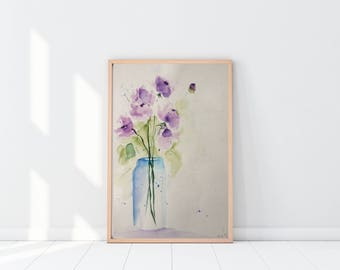 Original watercolor watercolor painting flowers picture unique art Watercolor flowers