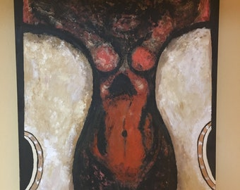 Female Body of Guitars Acrylic Canvas Painting