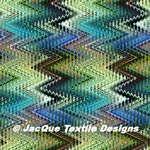 Hand Created Multi Zig Zag Missoni Like Pastel Velvet Upholstery Fabric Fiber Art Modern Fabric