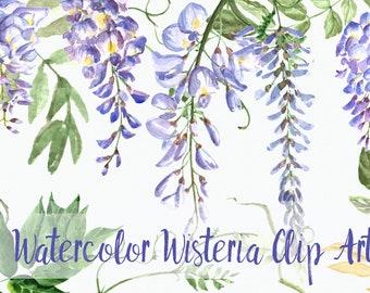 Watercolor Wisteria Clip Art Set