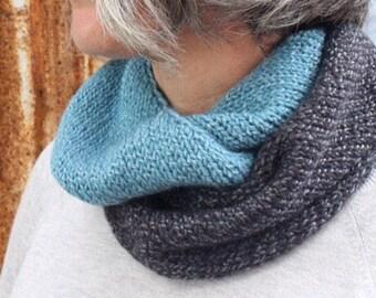 Alpaca Wool Scarf, Wool Infinity Scarf, Knitted Circle Scarf, Womens Knit Scarf, Merino Wool Neckwarmer, Loop Scarf, Gift under 50 for Her.