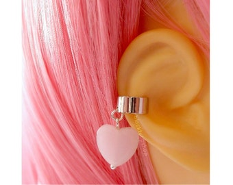 Silver Ear Cuff Pink Heart Pastel Goth Cartilage Piercing Sweet Lolita Fairy Kei Jewelry