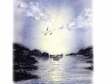 Lake Sunset Print, Watercolour, Wall Art
