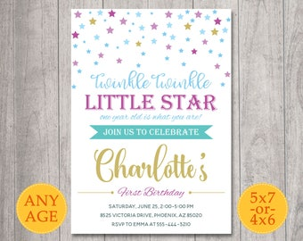 Twinkle Twinkle Little Star Invitation, Twinkle Twinkle Birthday Invite, Twinkle Twinkle Little Star First Birthday party invitation, Gold