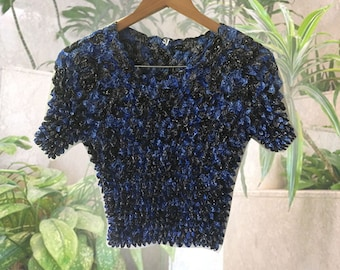 90s Blue Paisley Popcorn Crop Top Stretchy Bohemian Festival Top One Size Fits Lots