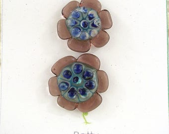 Glass Button Set / Art Glass / shank style button / decorative button / lampwork button / glass jewelry clasp
