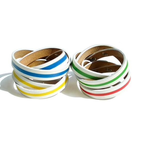 Stripe Leather Wrap Bracelet
