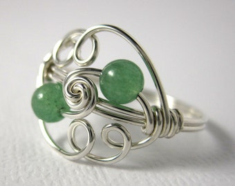 Green Aventurine Cloud Ring Wire Wrapped Sterling Silver Ring