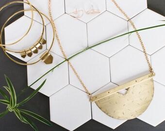 Large, brass, gold, geometric, chest-plate, bib, necklace
