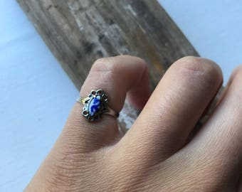 Porcelain and Silver Plated/Brass Adjustable Ring Size 4