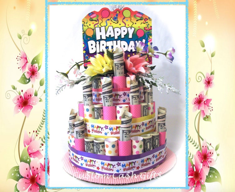 Money Cake Made With Real Money Birthday Floral