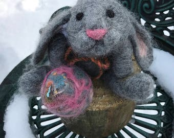 Needle Felted Bunny Rabbit, Gray Bunny, Felted Rabbit, Felted Animal, Easter Decoration