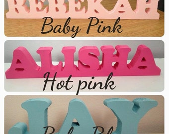 Handmade wooden freestanding personalised name/words/letter plaques