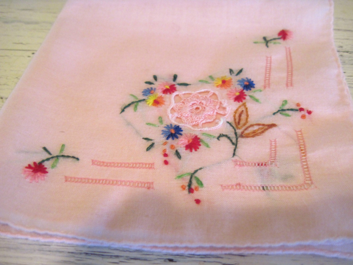 Colorful floral embroidered pink color handkerchief napkin