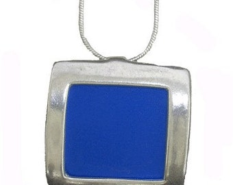 Blue square pendant necklace of recycled aluminum/silver