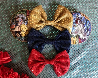 Beauty and the beast stained glass inspired mickey ears!
