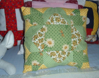 Green Quilt Block Pillow