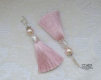 Gentle pink silk tassel earrings silver clasp Luxurious pink earrings Earrings tassel prom Long jewelry Gentle pink tassel Earrings brushes