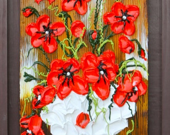 HAPPY PLACE - Acrylic Floral Impasto Painting, Colorful Poppies, Handmade14x34, Item#33