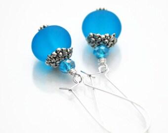 Blue Drop Earrings, Aqua Earrings, Blue Earrings, Bright Earrings, Something Blue, Drop Earrings, Gift for Her, Capri Blue, Everyday Jewelry