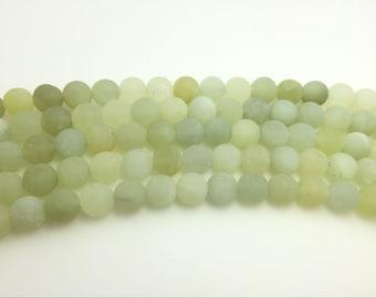 4mm / 6mm / 8 mm / 10mm / 12mm Round Matte Green New Jade 15''L, 38 cm Loose beads Semiprecious Gemstone Bead Wholesale Beads Supply