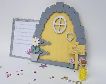 Fairy door, Fairy House, Tooth Fairy Door, Yellow Wooden Fairy Door, Fairy Door Kit, Magic Door, Fairy Door Set, Tooth Fairy, Miniature Door