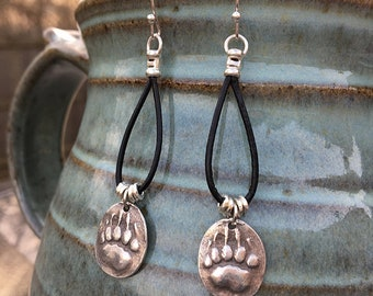 Silver and Leather Artisan Bear Paw Earrings - Fine Silver Charms on Black Leather Cord