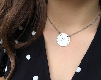 Sterling Silver Initial Circle Tag Choker Hand Stamped - SALE