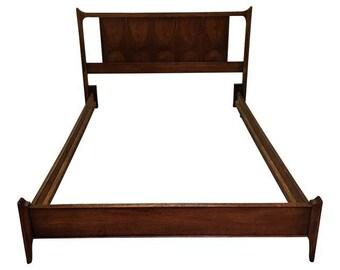 Mid Century Bed Frame Danish Modern Broyhill Brasilia Walnut Full Size Bed  Frame