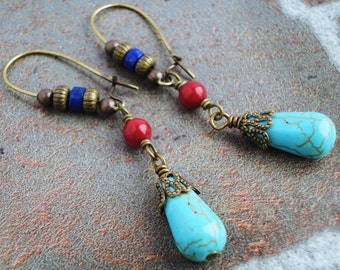 Blue and Red Gemstone Earrings, Magnesite, Lapis Lazuli, Coral, Antiqued Brass, Southwestern