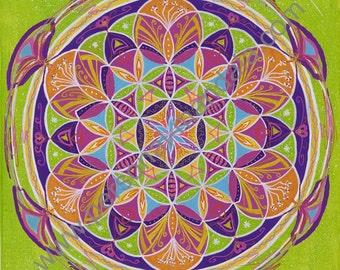 """Mandala """"Fleur de vie""""  (Reproduction sur toile)"""