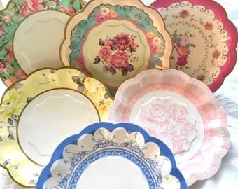 Paper Plates - Floral Plates - Party Plates - Wedding - Bridal Shower - Baby Shower - Tea Party - Vintage Theme - Cake Plate - Dessert Plate & Dessert plates | Etsy